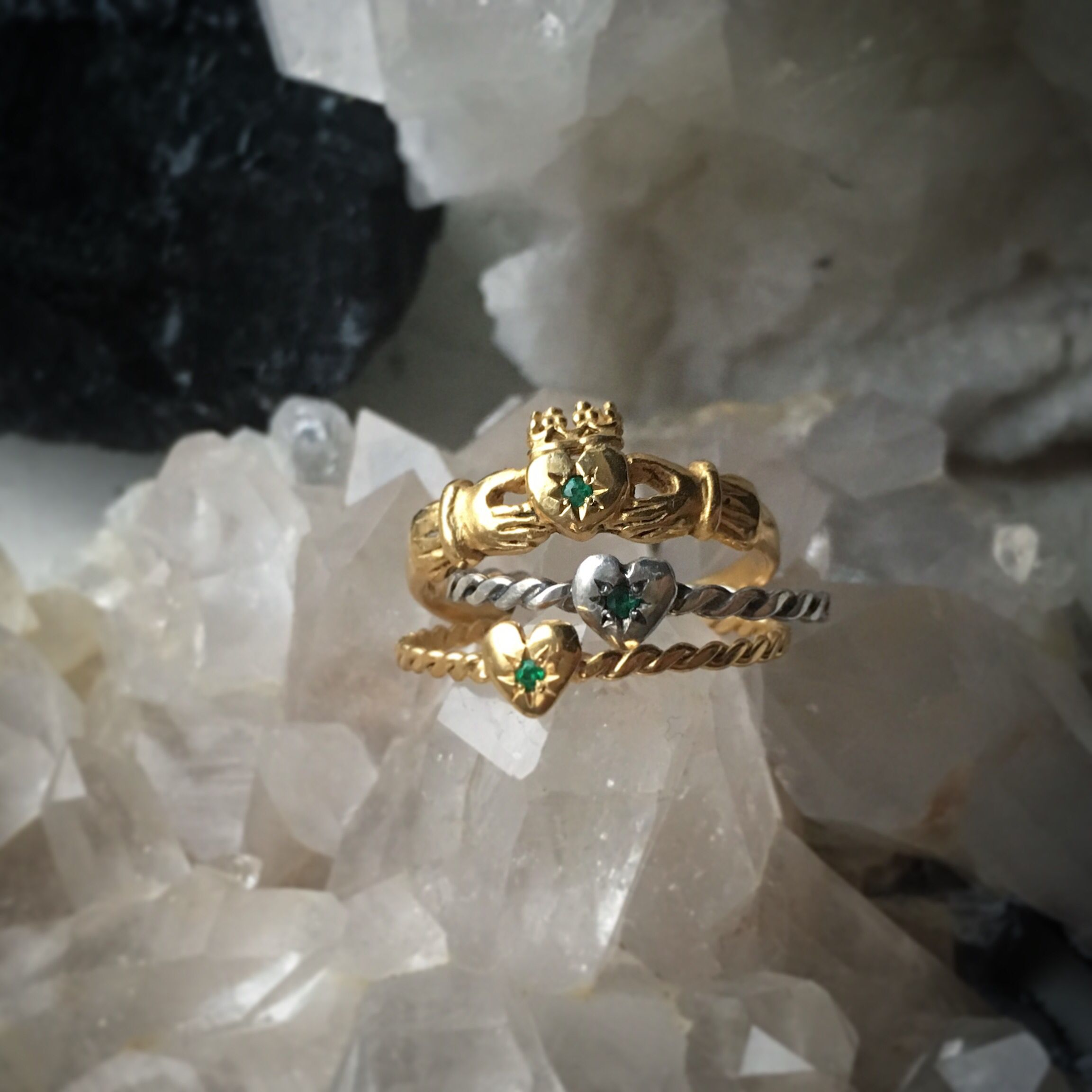 Claddagh Ring with Emerald x Silver in 2020 Celtic