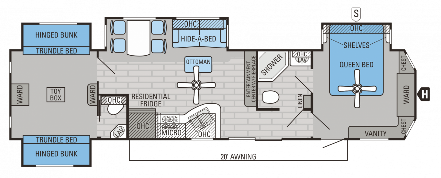 Two Bedroom Rv Floor Plans  Low Budget Bedroom Decorating Ideas