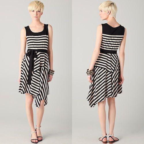 Dkny Striped Sleeveless Jersey Dress