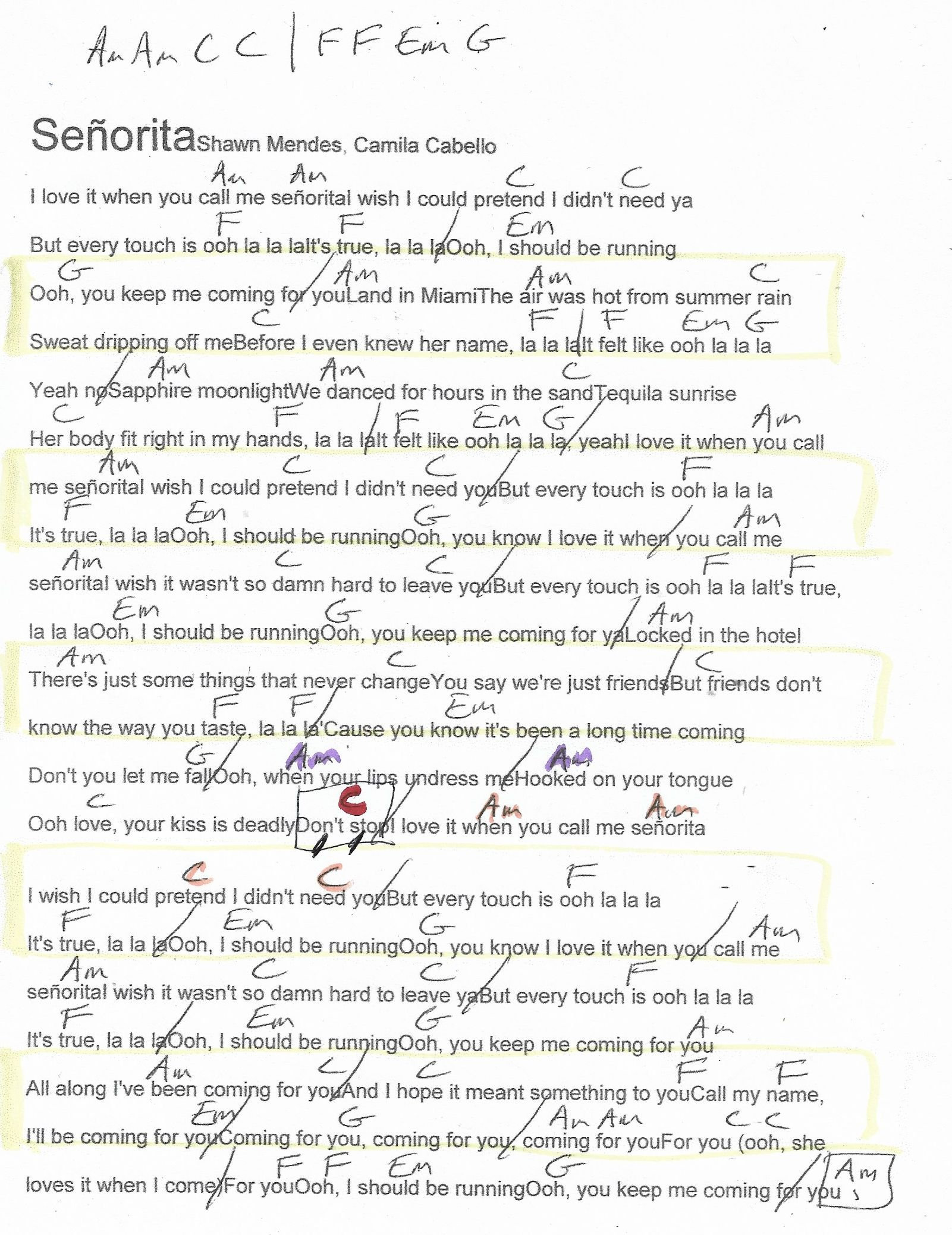 Kunci Gitar Senorita : kunci, gitar, senorita, Senorita, (Shawn, Mendes), Guitar, Chord, Chart, Marked, Chords, Lyrics,, Ukulele, Songs,, Shawn, Mendes
