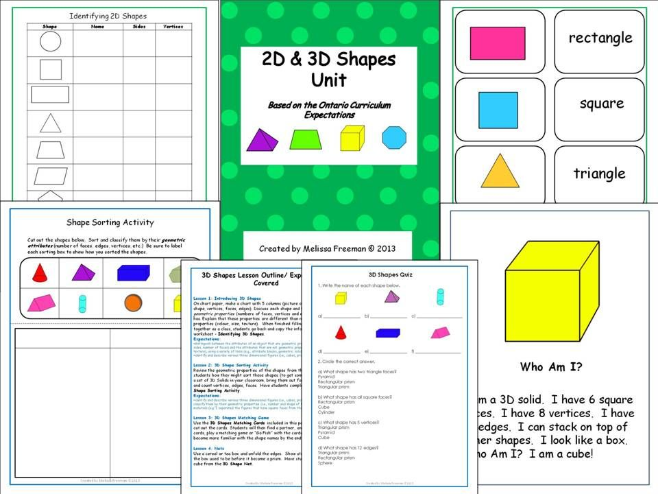 Printable Worksheets 2d worksheets : A 2D and 3D shapes unit based on the Ontario Curriculum with ...