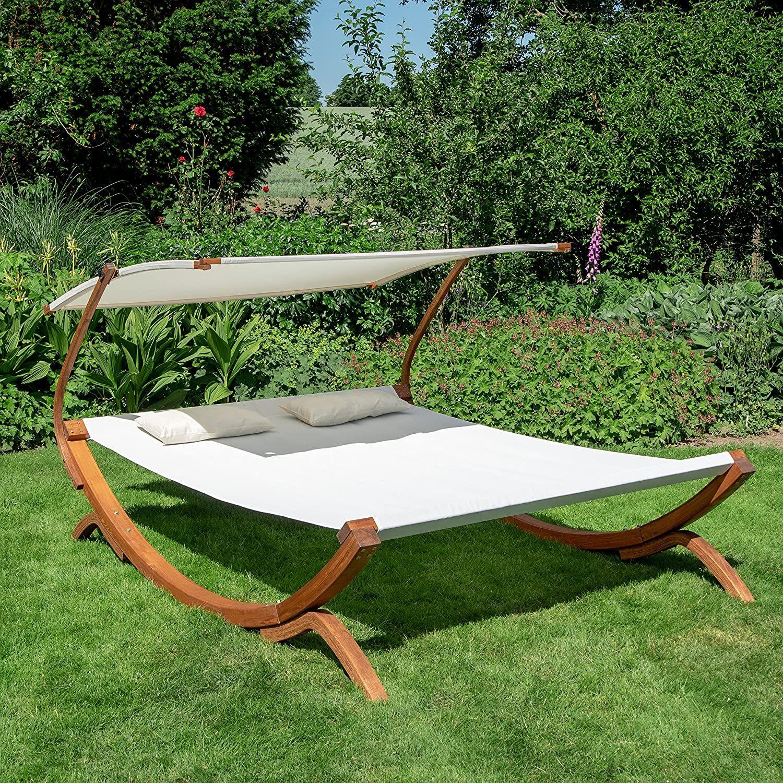 Amazon De Ampel 24 Doppel Sonnenliege Panama Mit Dach Creme Weiss Gartenliege Mit Holzgestell Wetterfest Sonnend In 2020 Sonnenliege Mit Dach Sonnenliege Gartenliege