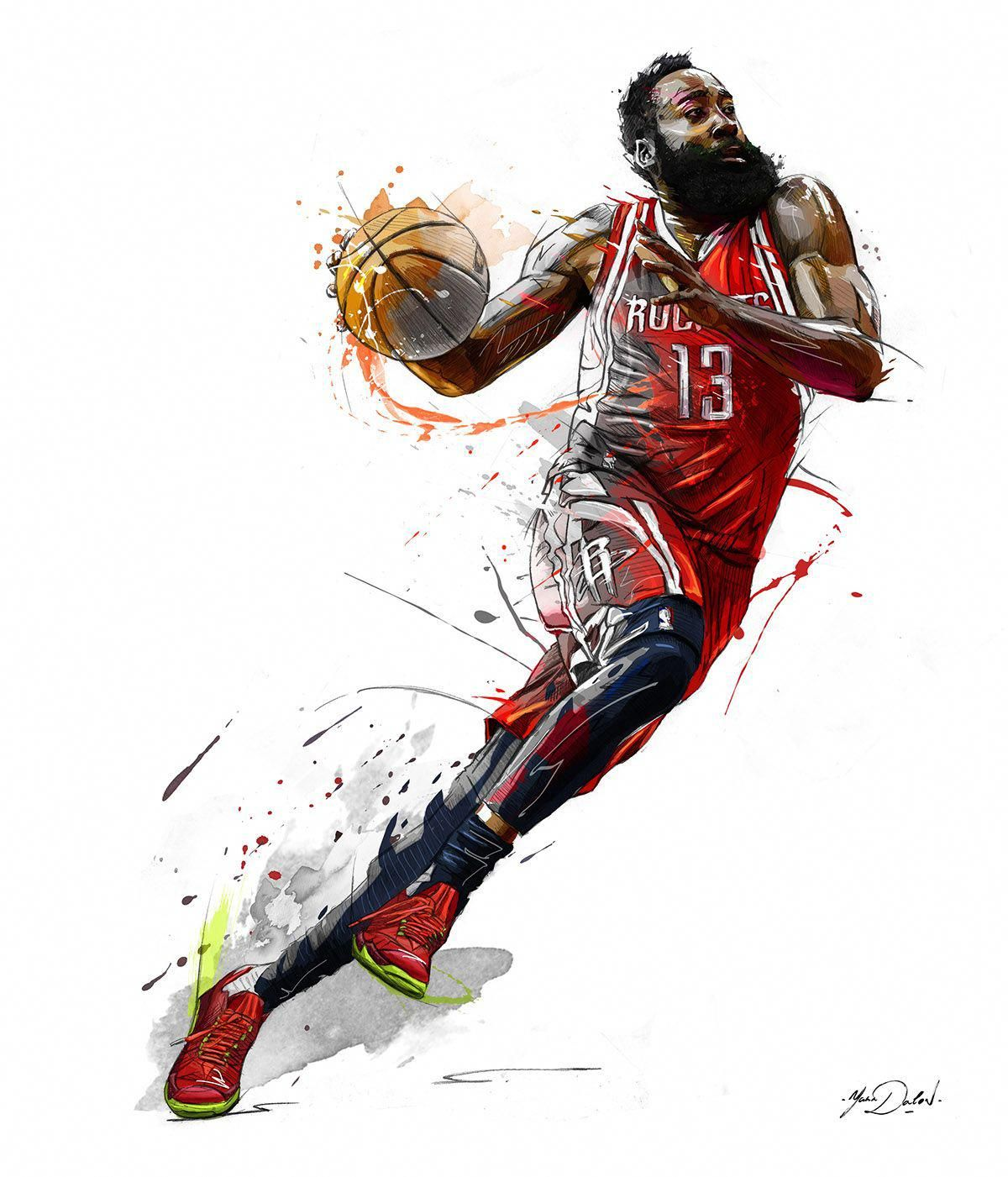James Harden One Of The Great Finishers In The Paint His Downfall Is His Playmaking And Defense Above Aver Nba Basketball Art Nba Wallpapers Basketball Art