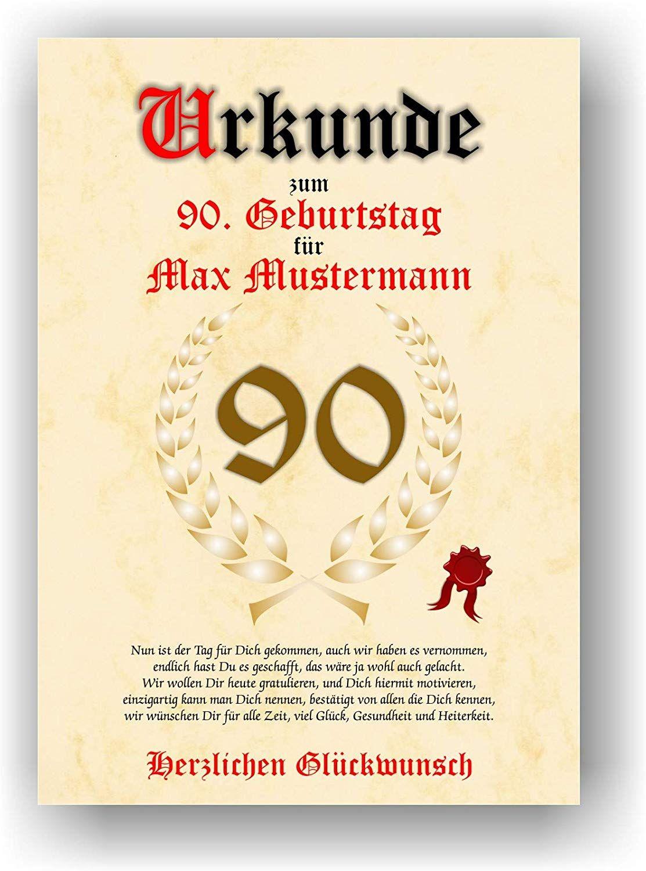 Urkunde Zum 90 Geburtstag Gluckwunsch Geschenkurkunde