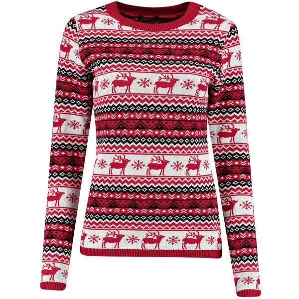 Bea Reindeers Fairisle Christmas Jumper ($16) ❤ liked on Polyvore ...