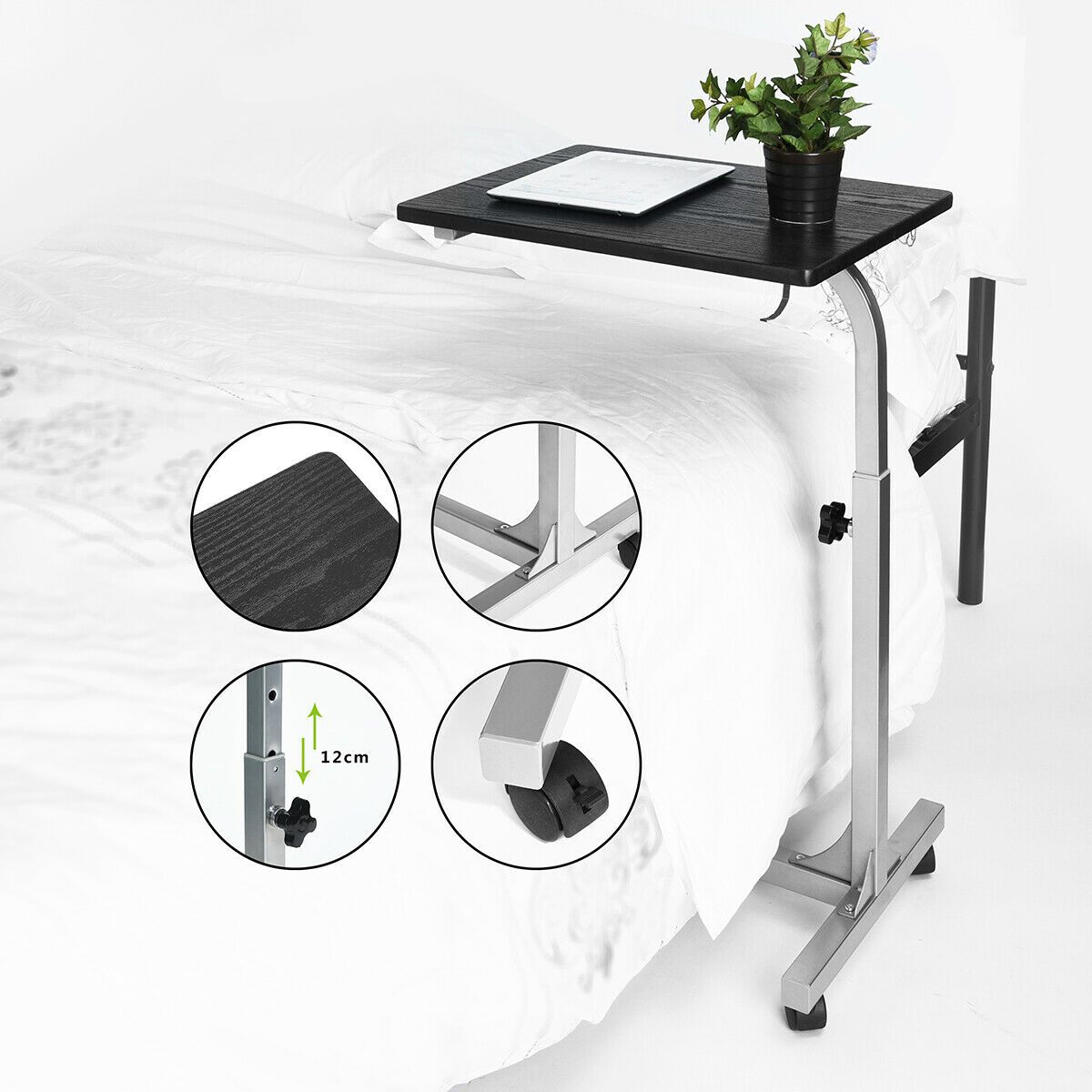 Height Adjustable Rolling Laptop Stand Desk Table Tray