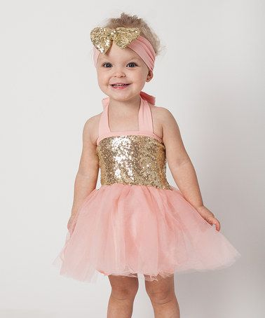 Another great find on #zulily! Coral Pink & Gold Sparkle Tutu Set - Infant & Kids #zulilyfinds