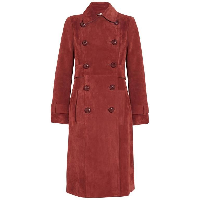 1697250e7 New Gucci Brick Red Suede Belted Leather Buttons Women's Trench Coat ...