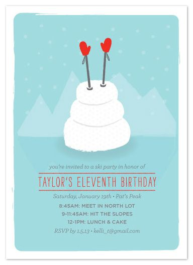 BDay Ski Day Kids Birthday Party Invites by jenincmyk tots