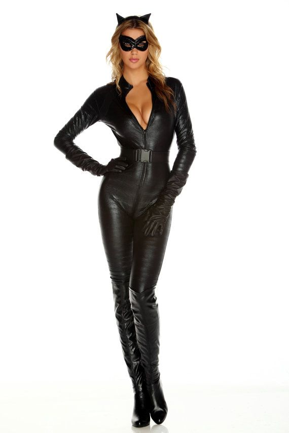dda1fff4f0cc This 5 piece Fierce Feline Costume includes a black jumpsuit with zip at  the front