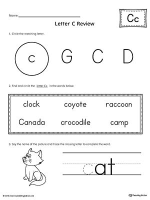 Learning The Letter C Worksheet  Student Learning Worksheets And