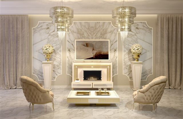 Luxury Classic Livingroom With Tv Lift Stand And Biofireplace
