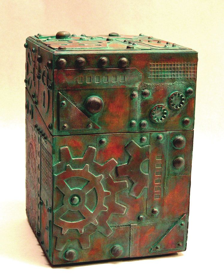 Steampunk Style Treasure Box Assemblage Weathered Copper Look ...