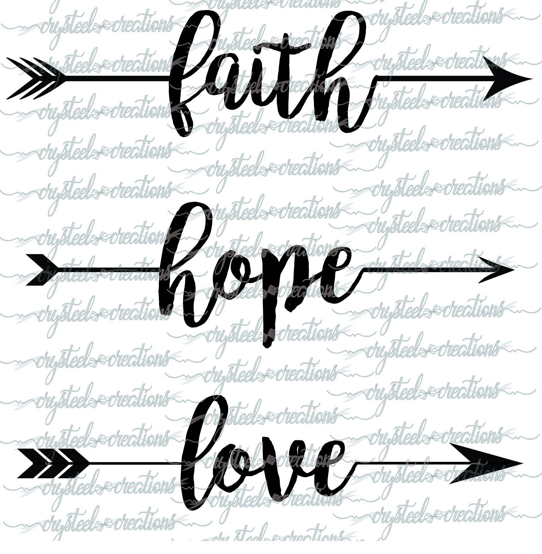 faith hope and love arrow words set png svg boho style