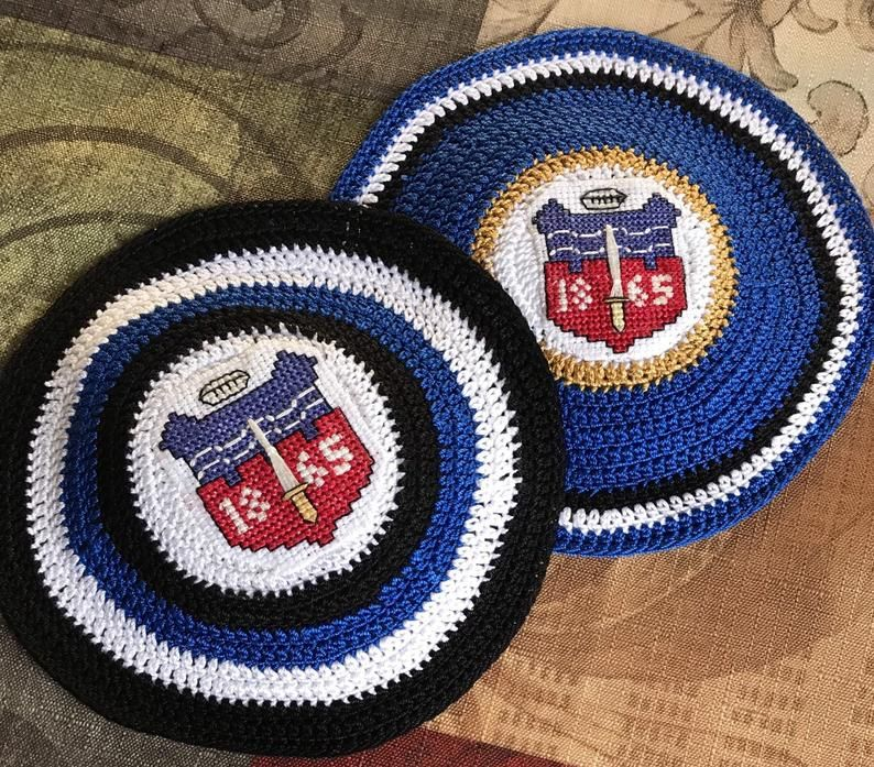 Bath Rugby Inspired Yarmulke Or Your Favorite Sports Team Hand Etsy Hand Crochet Cross Stitch