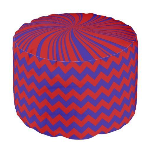 School Colors Chevron Pouf Seat,Red-Blue Round Pouf #schoolcolors #zazzle #pouf #seats #red #blue #chevron #twirl #kidsroom #dormgifts