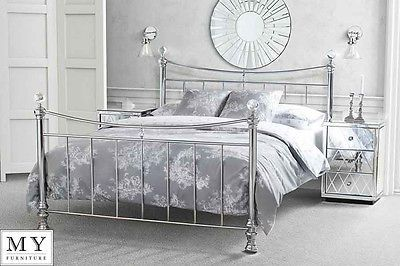 4ft6 Double Metal Bed Chrome Plated With Crystal Finials