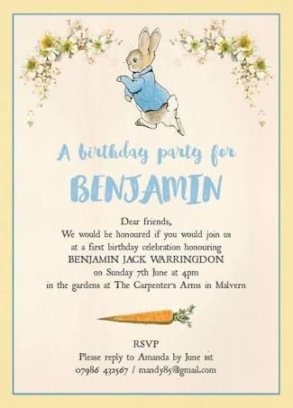 Image result for peter rabbit invitation