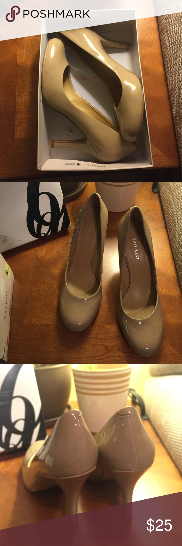Nine West nude patent pumps size 7 1/2 barely worn Hardly worn shoes great for any occasion! No scuffs. Like new. Nine West Shoes Heels