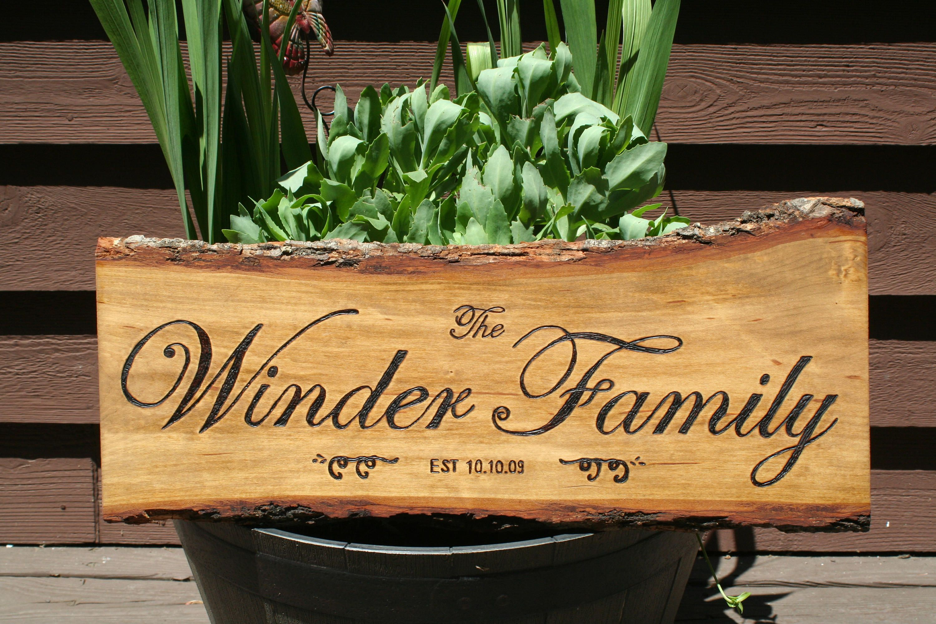 Personalized Wedding gift, Wood Bark, Live Edge Engraved