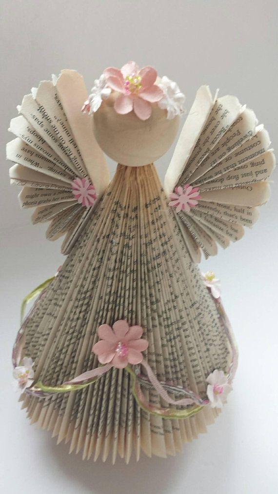 Buch Gnome, umfunktionierte Buch Gnome, Bibliothekar, Lehrer, Wiederverwendung, Recycling, umfunktionierte Bücher, Buchkunst, Weihnachtszwerg, Winter #ribbonart