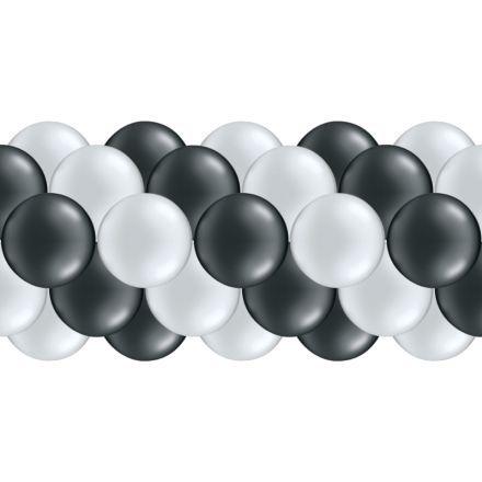 LuftballongirlandenSet Silber & Schwarz (Metallic