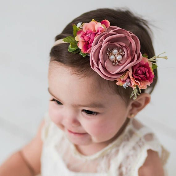 Baby headbands, Baby girl headband,floral nylon headband, flower crown headband, nylon headbands,Newborn headband, Infant Headband,Hair bows #crownheadband