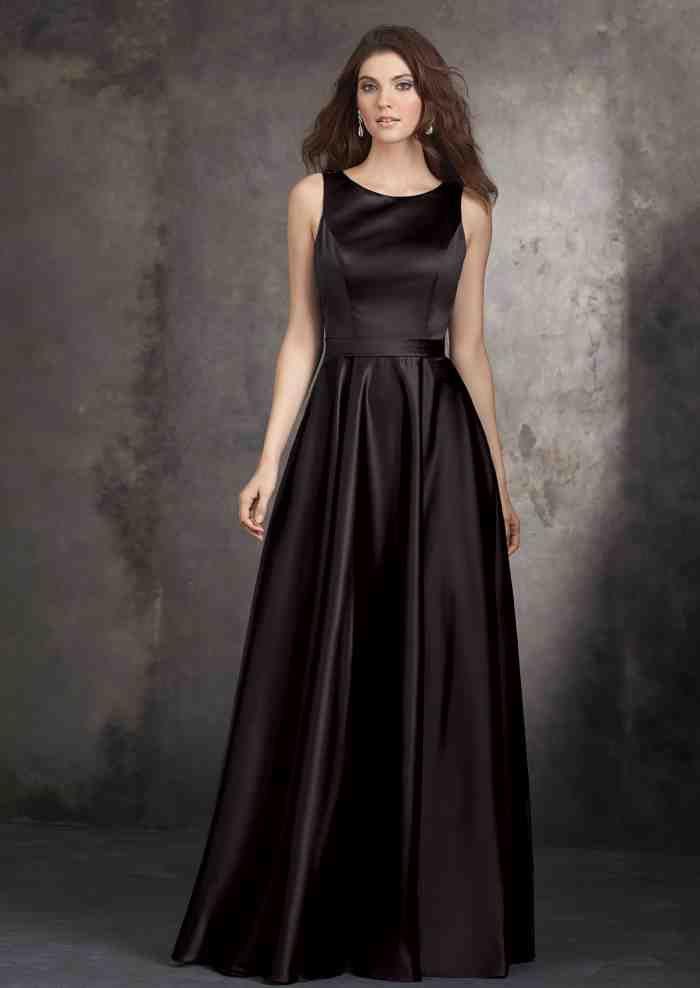 Long Black Satin Bridesmaid Dresses Wedding Day Bridesmaid