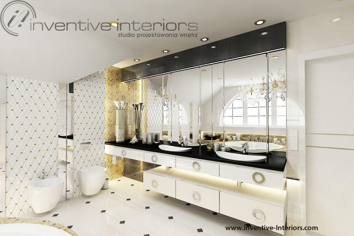 Projekt łazienki Inventive Interiors - złota mozaika i dodatki w luksusowej łazience