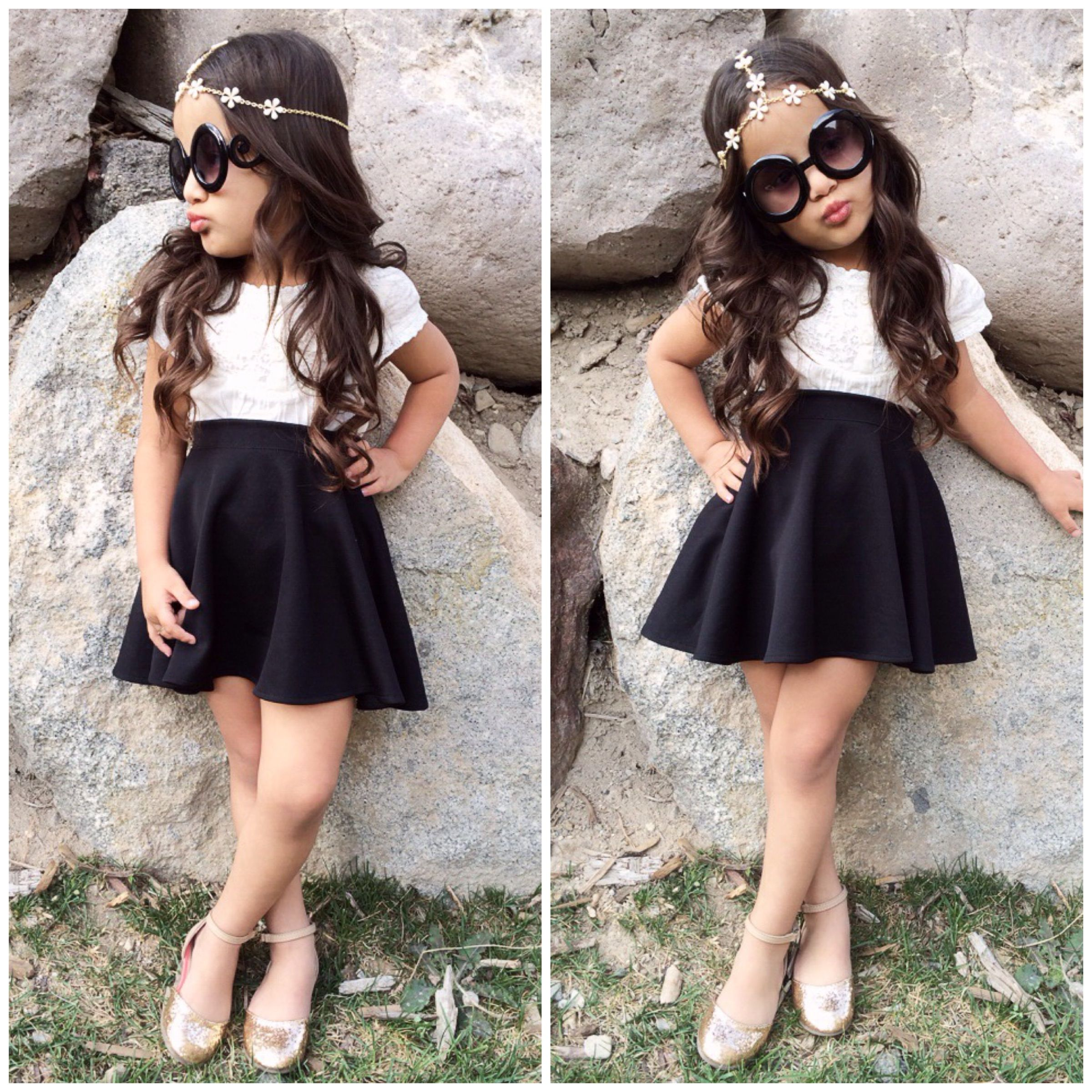 Just love this black kids skater skirt! Its color pops and is just ...