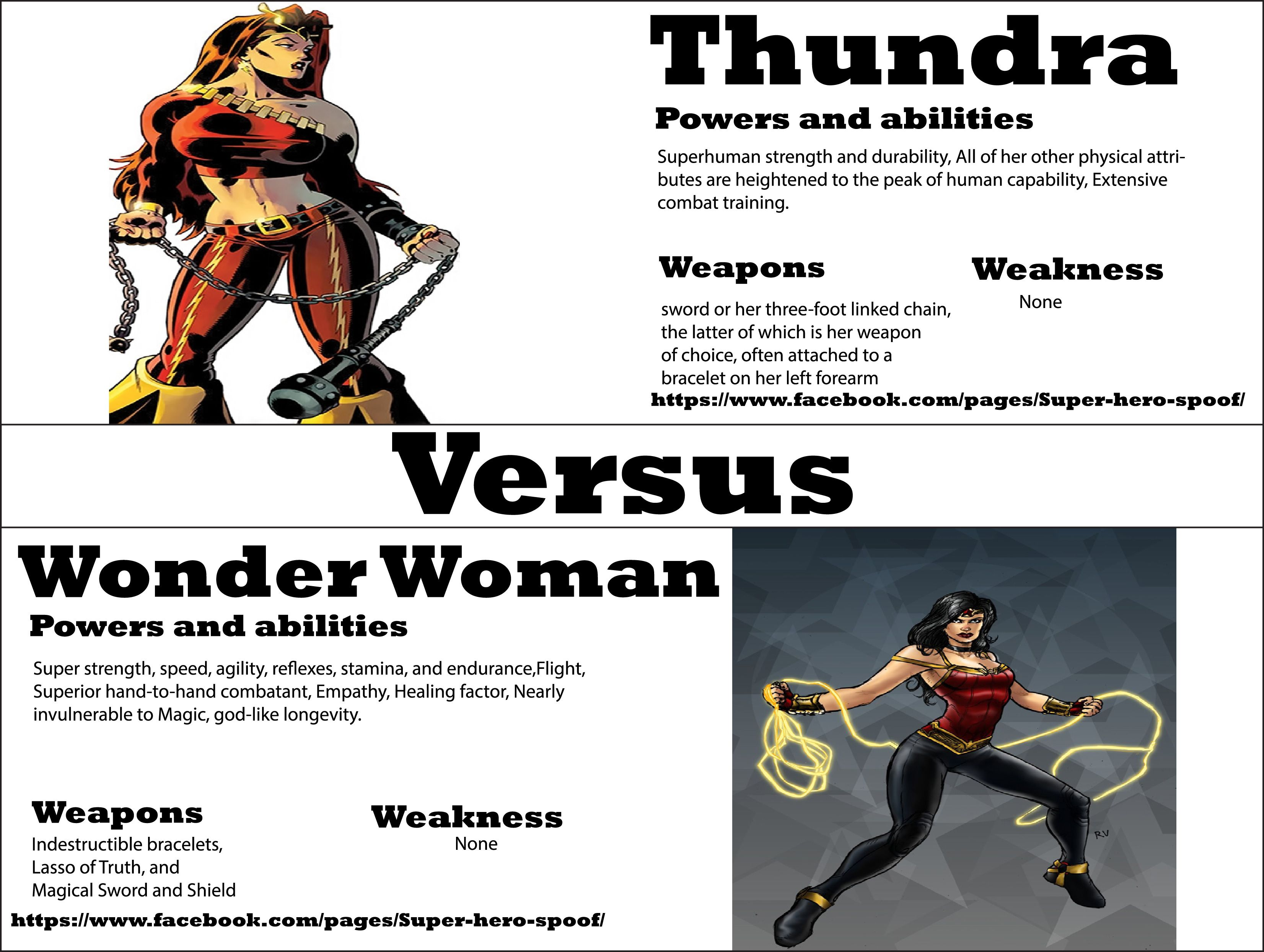 by super hero spoof we have wonder w vs thundra who will win by super hero spoof we have wonder w vs thundra who will win powers abilities weaknesses and weapons are posted