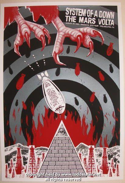 System Of A Down W The Mars Volta Silkscreen Concert Poster