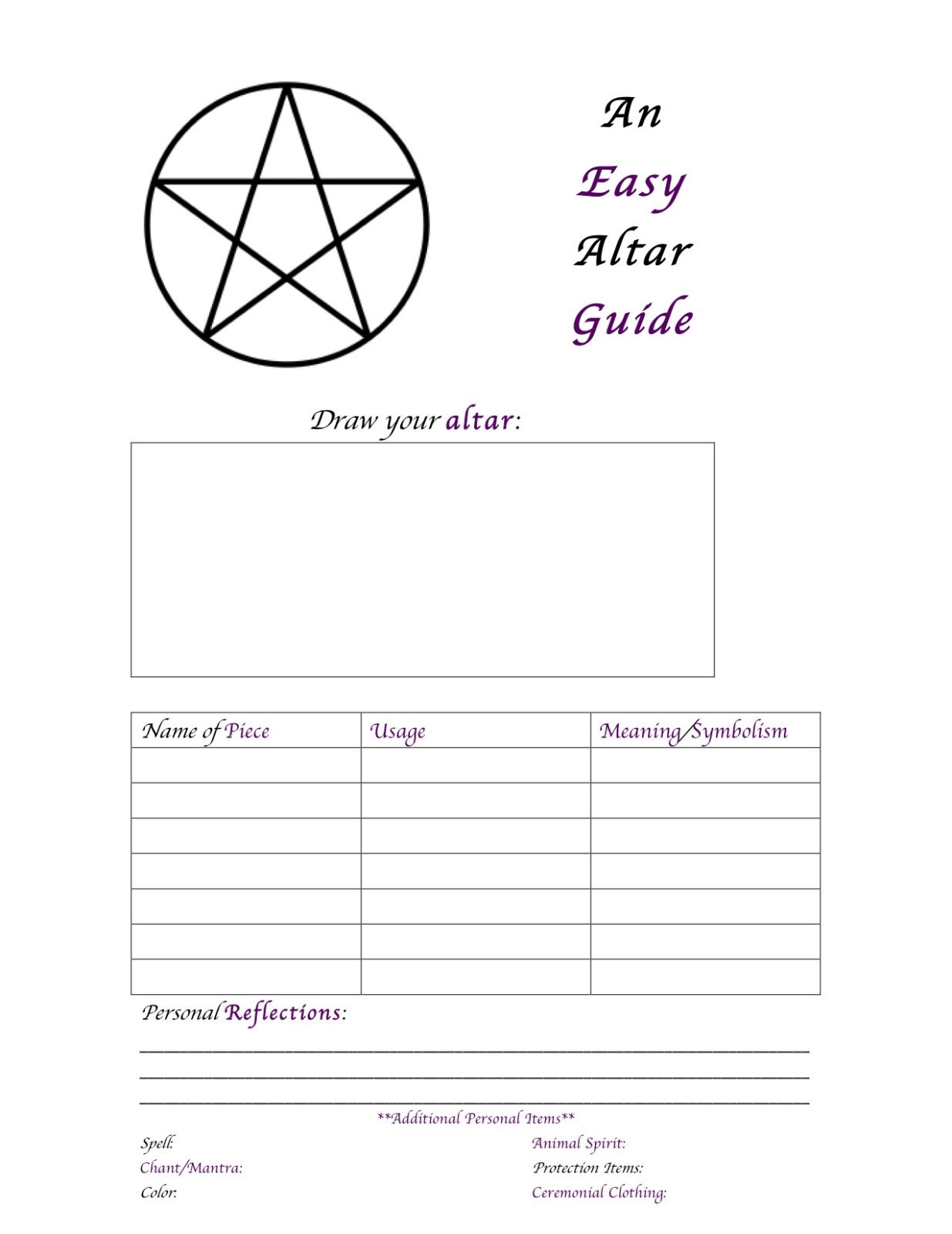 An Easy Altar Guide Printable