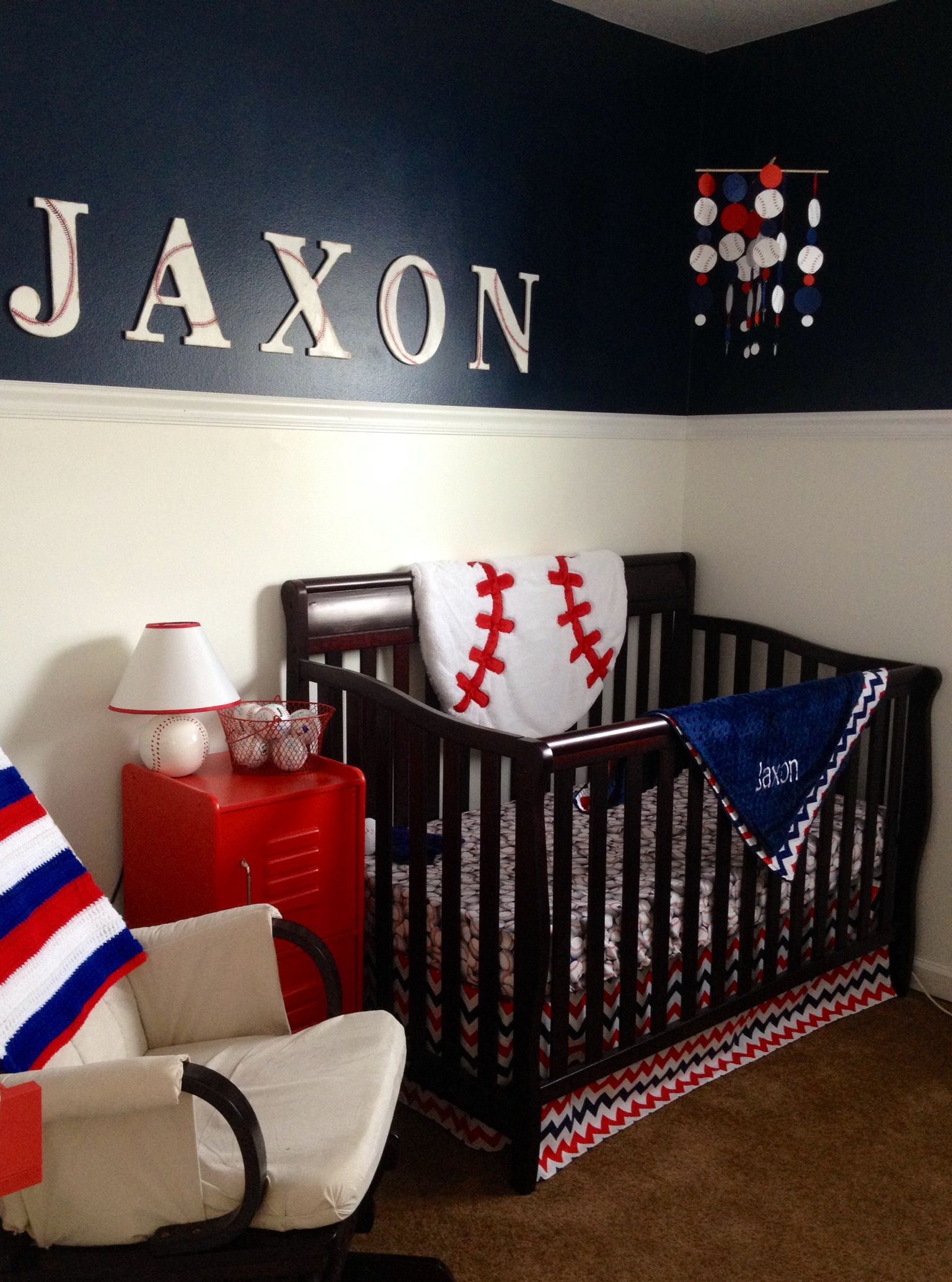 Baby Boy Room Mural Ideas: Jaxon's Baseball Nursery