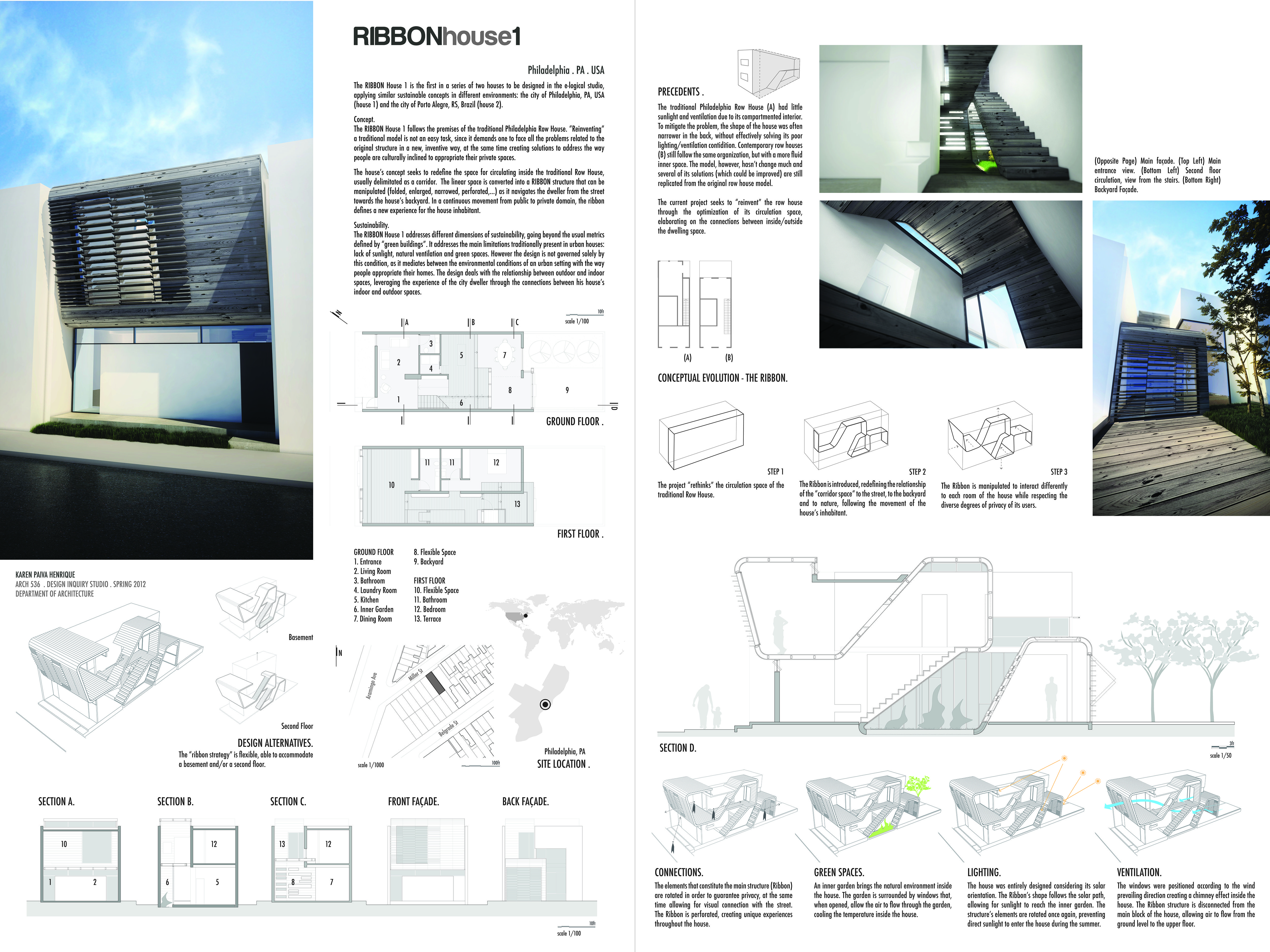 Architectural board showing drawings for the ribbon house for Concept 8 architects