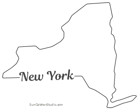 New York Map Outline Printable State Shape Stencil Pattern Map Of New York York Map Map Outline