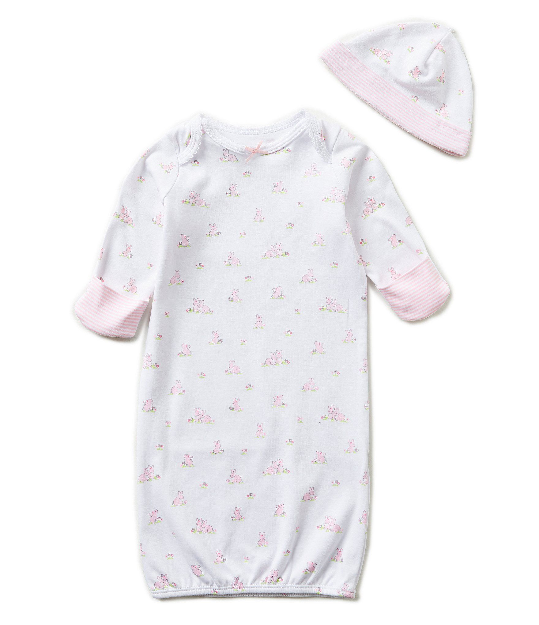 100/% Cotton Infant White Gown with built in fold over mitten cuffs