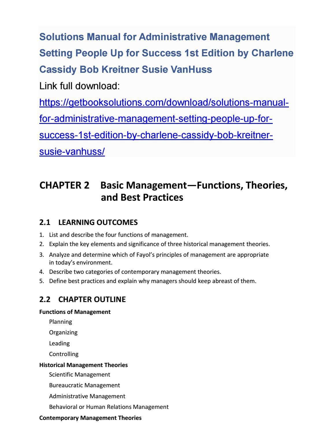Solutions manual for administrative management setting people up for  success 1st edition by charlene