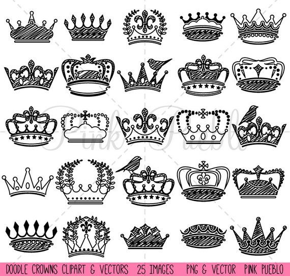 Doodle Crown Clipart Clip Art And Vectors Vintage Crown Silhouettes Commercial And Personal Use Crown Clip Art Crown Silhouette Clip Art