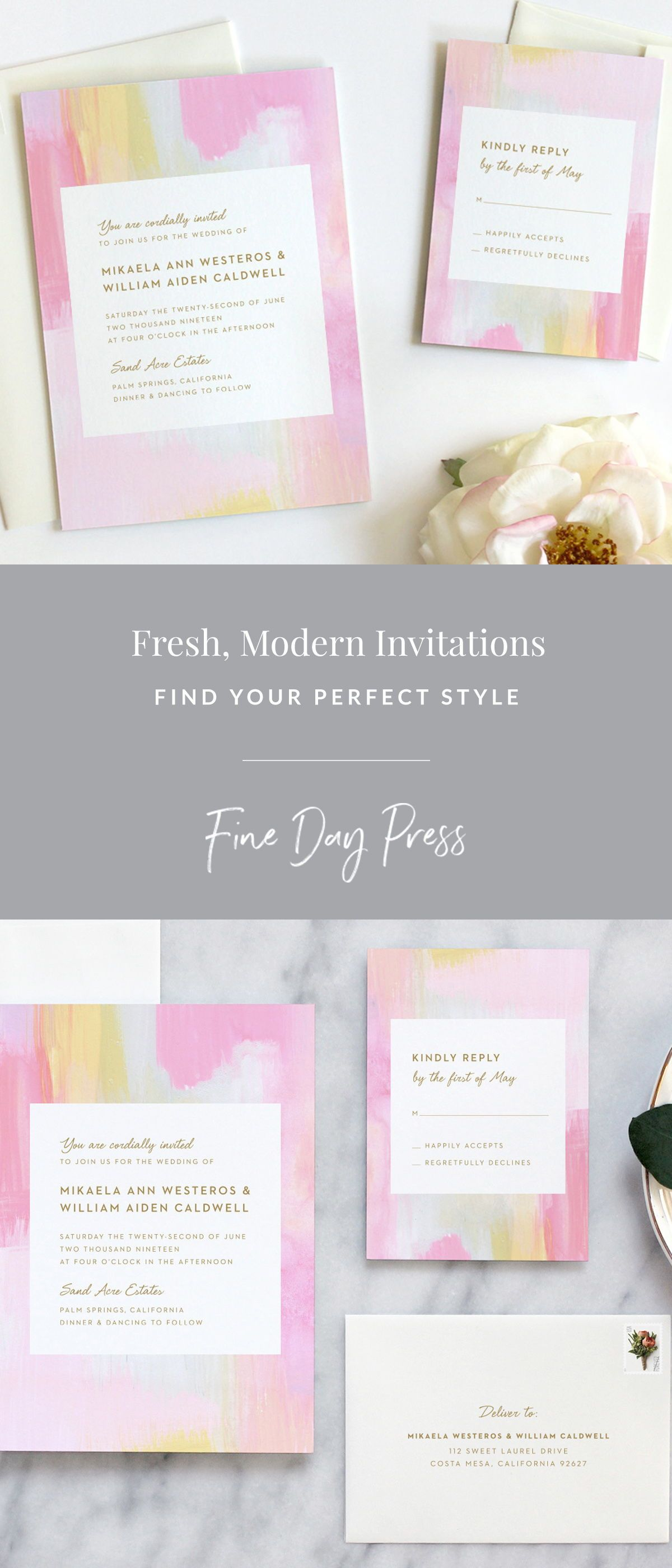 Modern art wedding invitations rose in wedding brand inspire