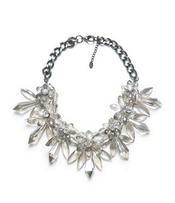 Image 1 of STONES AND FLOWER NECKLACE from Zara
