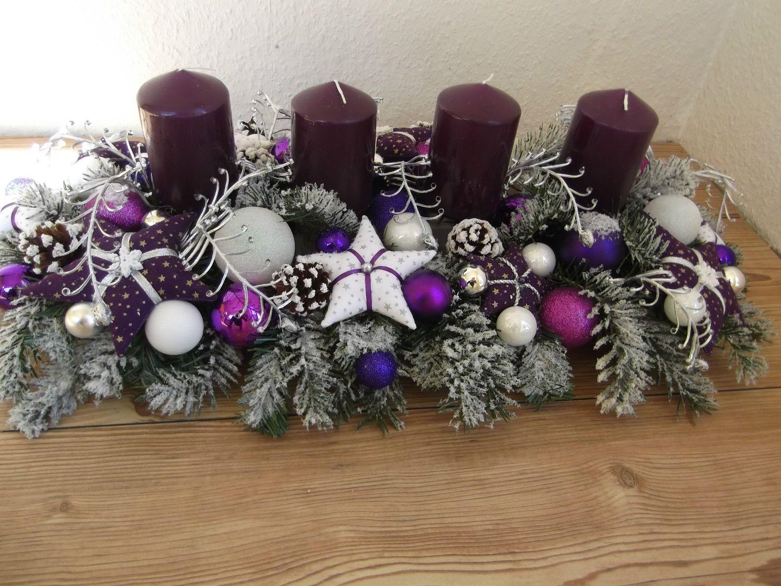 tischgesteck advent weihnachtsgesteck adventskranz lila weiss tilda ebay weihnachten. Black Bedroom Furniture Sets. Home Design Ideas