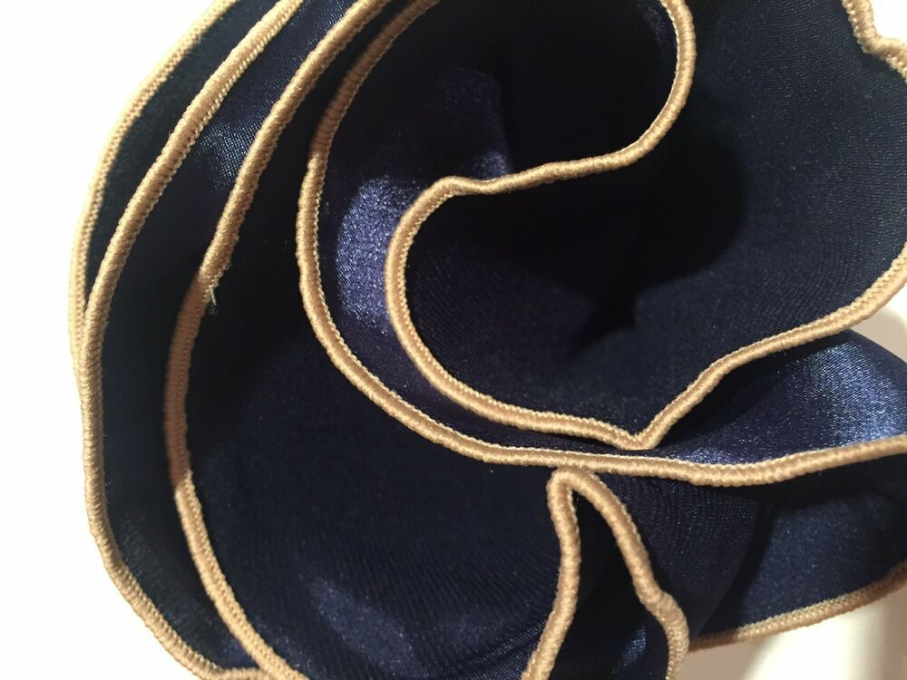 BLUE Silk BLACK border Pocket square Round Handkerchief with trim edge NEW $45