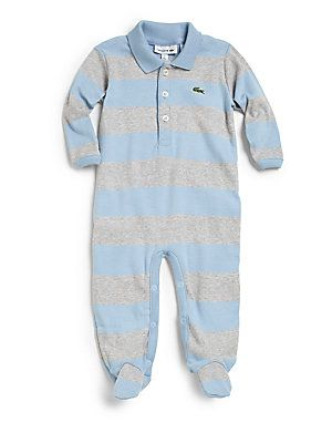 33a98b5a69 Lacoste Infant's+Striped+Polo+Footie | Baby Clothes | Baby boy ...