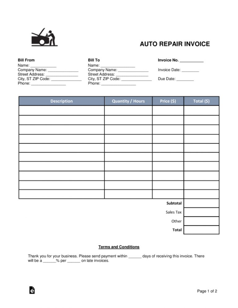 Free Auto Body Mechanic Invoice Template Word Pdf Eforms Throughout Mechanics Invoice Template 1 Invoice Template Word Invoice Template Auto Repair Estimates