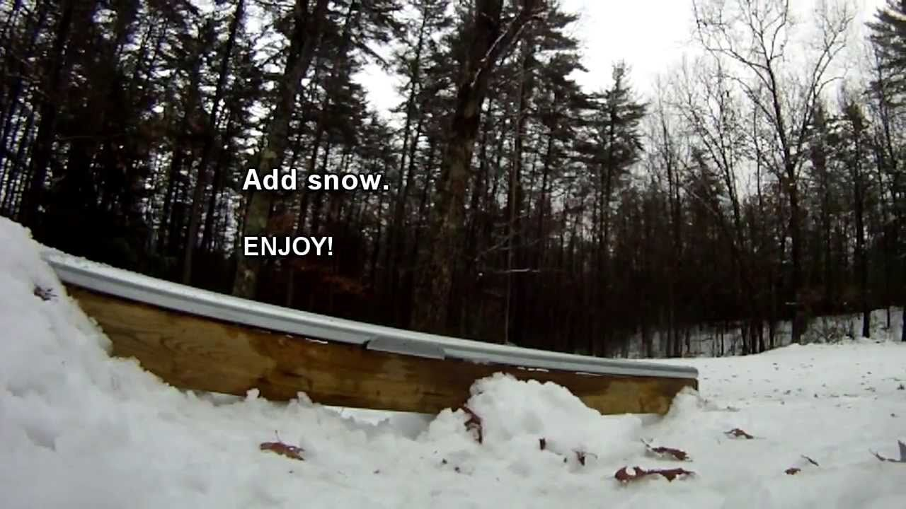 How To Build A Diy Backyard Metal Terrain Park Rail For Skiing Or Snowboarding Ski Park Backyard Skiing