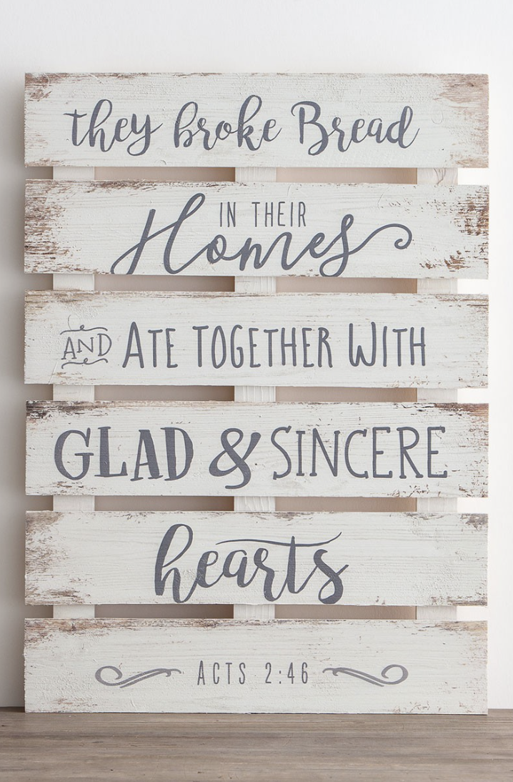 They Broke Bread In Their Homes Wood Sign Acts 2 46 Scripture Wall Decor Bible Verse Ar Turquoise Kitchen Decor Dining Room Wall Decor Scripture Wall Decor