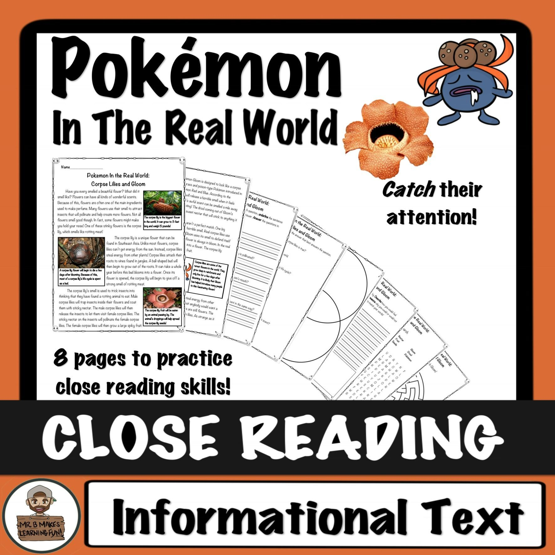Pokemon Close Read And Worksheets Activities Corpse