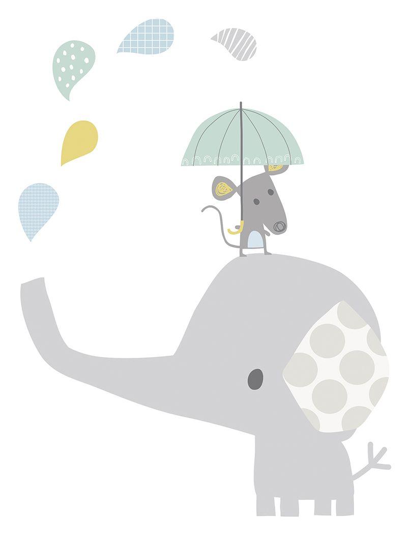 Lilipinso Xl Wandtattoo Elefant Maus Grau Pastell 75cm Bei Fantasyroom Online Kaufen Kinder Zimmer Baby Poster Elefant