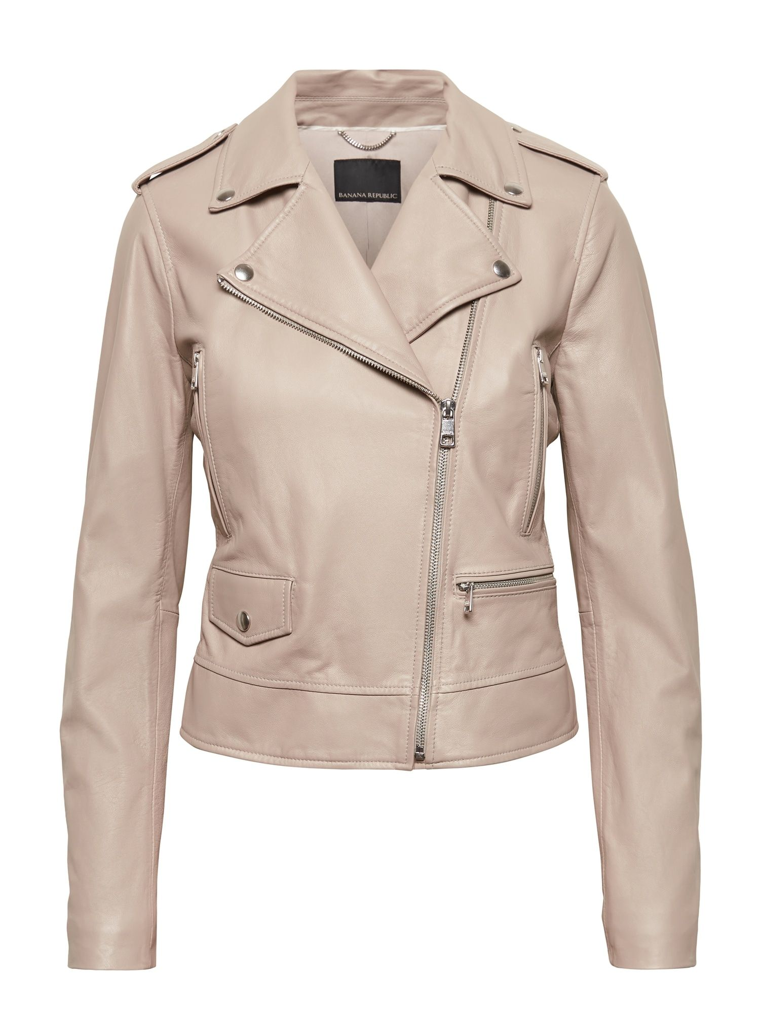 Bring On The Beige Leather Moto Jacket Banana Republic Beige Leather Jacket Leather Jacket Outfits Leather Outerwear [ 2000 x 1500 Pixel ]